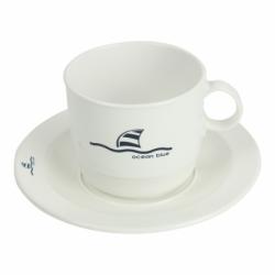 Ocean Blue kaffekop med undertallerken - 1