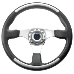 VETUS three spoke sport steering wheel, 35 cm, black with aluminium