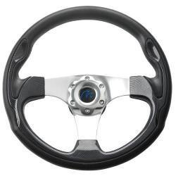 VETUS three spoke sport steering wheel, 35 cm, carbon finish