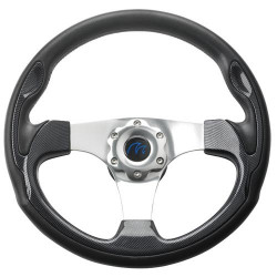 VETUS three spoke sport steering wheel, 35 cm, carbon finish