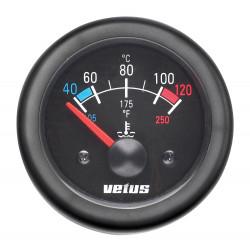 VETUS water temperature gauge, black, 24 Volt, cut-out size 52mm