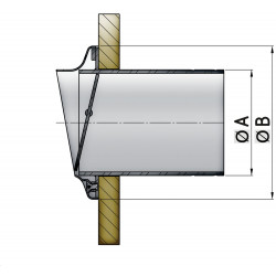 VETUS stainless steel transom exhaust connection, check valve, 152 mm