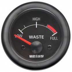 VETUS waste water level indicator, black, 12 Volt, cut-out size 52mm