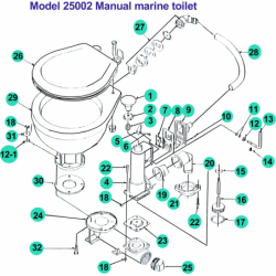 Diverse reservedele til manuelt marineworldtoilet - 1